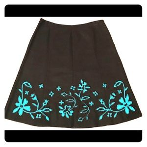 Dresses & Skirts - Black and turquoise appliqué linen circle skirt